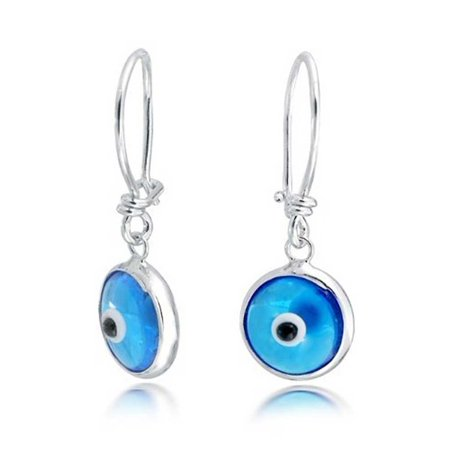 Blue Nazar Evil Eye Spiritual Protection Round Leverback Drop Earrings For Women Teen Murano Glass 925 Sterling Silver