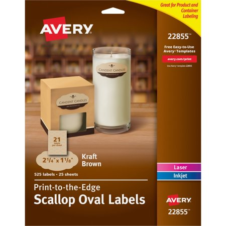 Avery Kraft Brown Scalloped Labels - Permanent Adhesive - 1 1/8