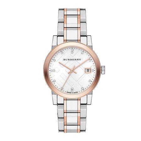 BURBERRY Silver Dial Two-tone Silver Rose Gold Ladies Diamond Watch BU9127 Diamond Silver Tone Watch