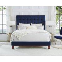 Blake Blue Velvet Bed Frame - Queen Size - Tufted - Upholstered