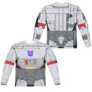 Trevco Sportswear HBRO132FB-ALPP-5 Transformers & Megatron Costume Front & Back Print - Long Sleeve Adult Poly Crew T-Shirt, White - 2X