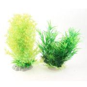 "Unique Bargains 2 Pcs Yellow Green Plastic Plants Waterweeds Decor 9"" for Aquarium Fish Tank"