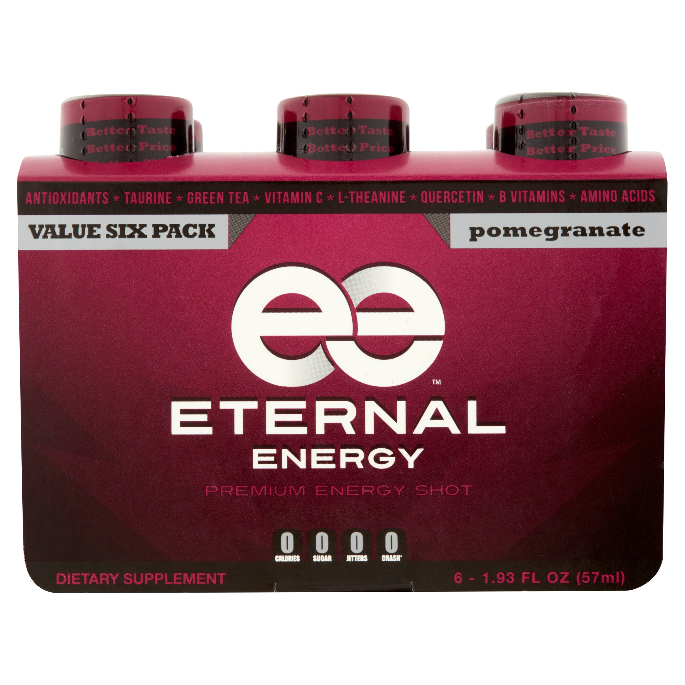 Eternal Energy Premium Energy Shot, Pomegranate, 1.93 Fl Oz, 6 Ct