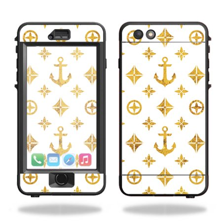MightySkins Protective Vinyl Skin Decal for Lifeproof Nuud iPhone 6s Plus Case wrap cover sticker skins Gold Anchors