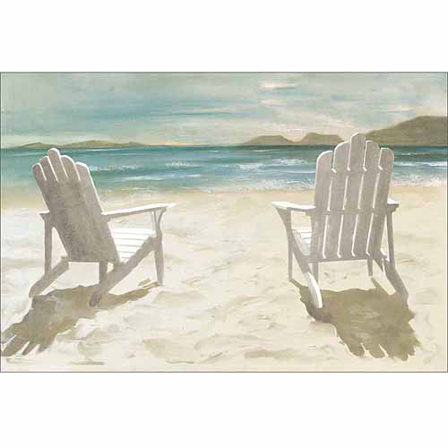 Two Adirondack Chairs on Sandy Beach Coastal Painting Blue Tan