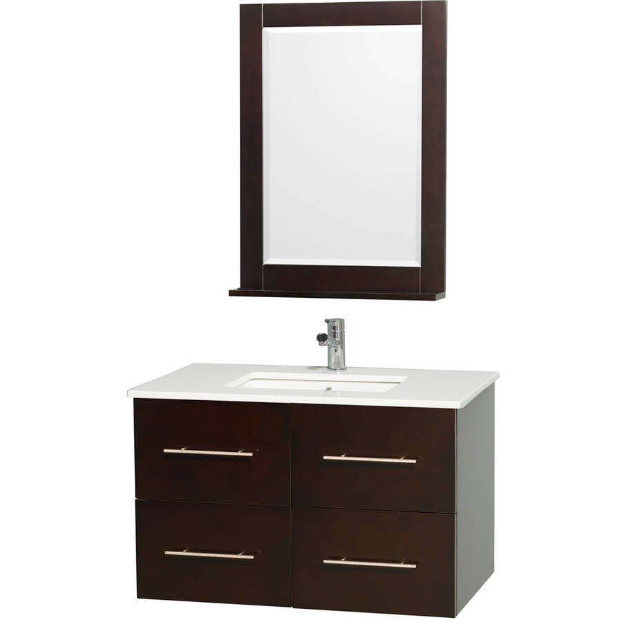 Wyndham Collection Centra 36 inch Single Bathroom Vanity in Espresso, White Man-Made Stone Countertop, Square Porcelain Undermount Sink, and 24 inch Mirror