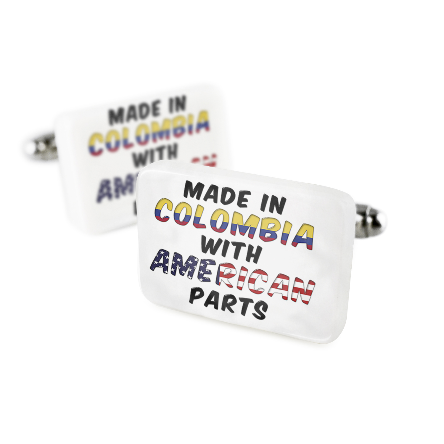 Cufflinks American Parts but Made in Colombia Porcelain Ceramic NEONBLOND