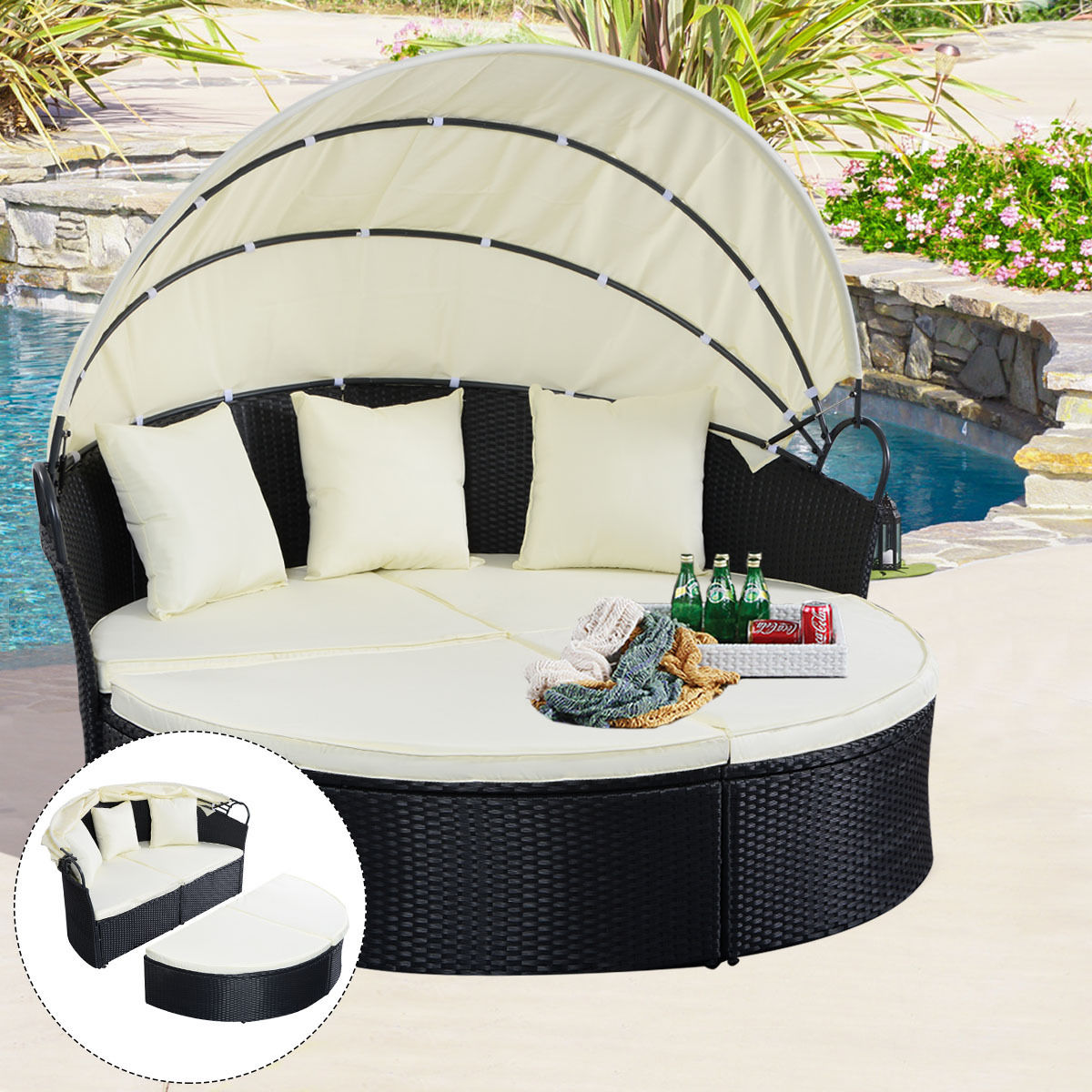 Costway Outdoor Patio Sofa Furniture Round Retractable Canopy Daybed Black Wicker Rattan