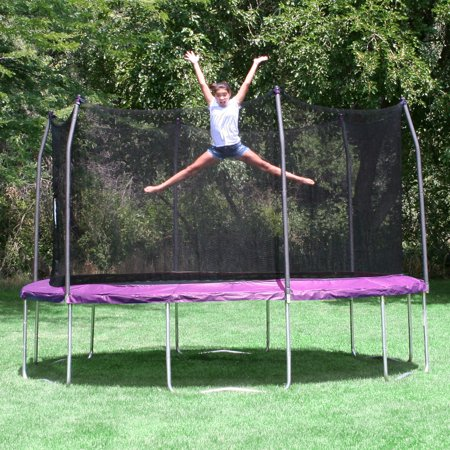 Skywalker 14' Round Trampoline and Enclosure Combo, Purple with Windstakes