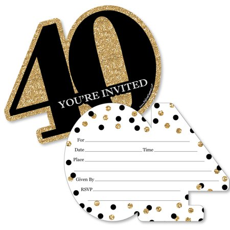 Adult 40th Birthday - Gold - Shaped Fill-In Invitations - Birthday Party Invitation Cards with Envelopes - Set of 12 (40th Anniversary Invitations)