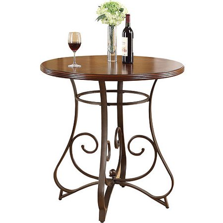 Tavio Pub Height Dining Table With Wood Top And Metal Scrolled Legs