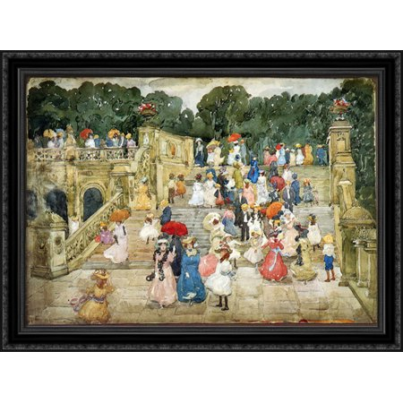 The Mall, Central Park (also known as Steps, Central Park or The Terrace Bridge, Central Park) 38x28 Large Black Ornate Wood Framed Canvas Art by Maurice Prendergast