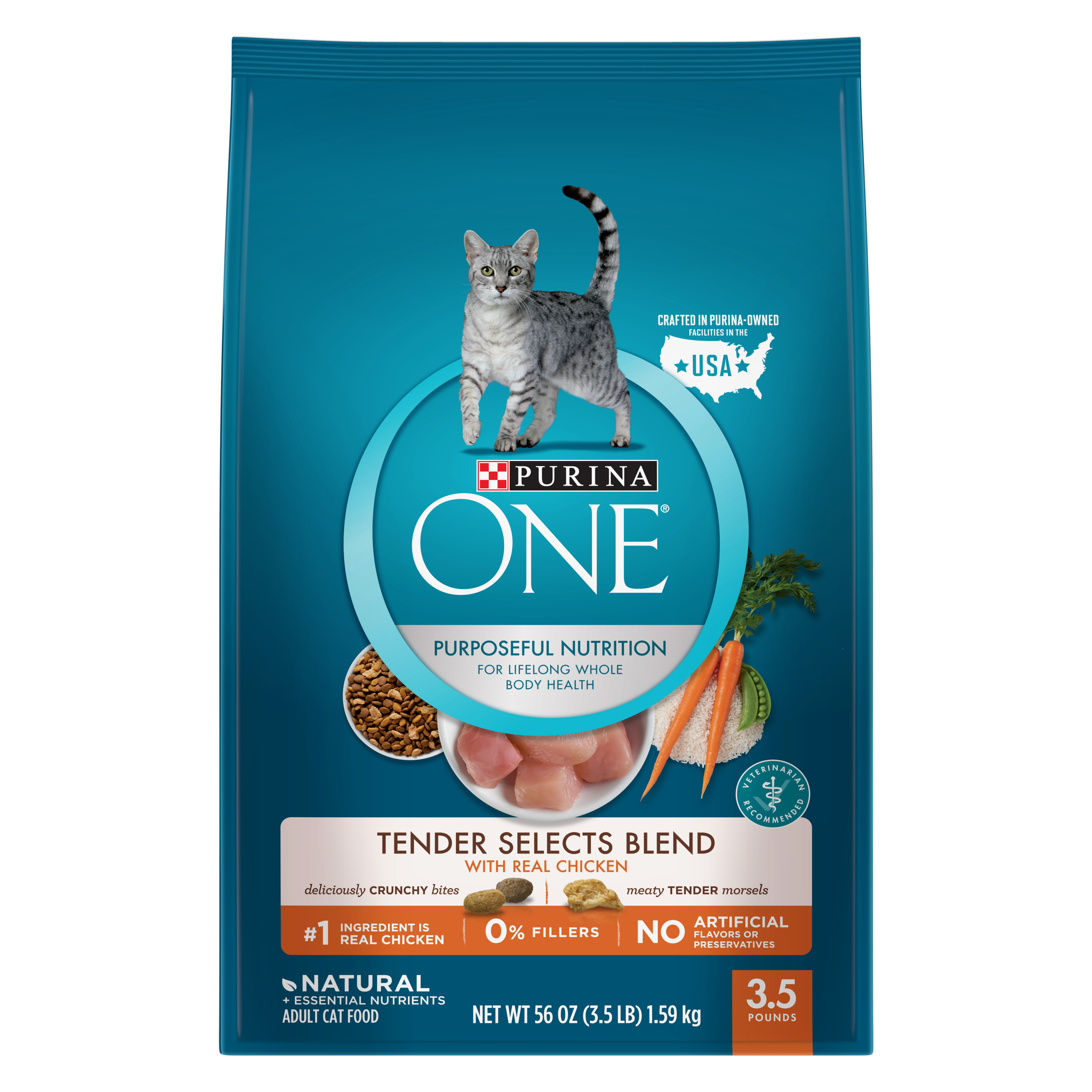 Purina One Tender Selects with Real Chicken Natural Dry Cat Food, 3.5 lb