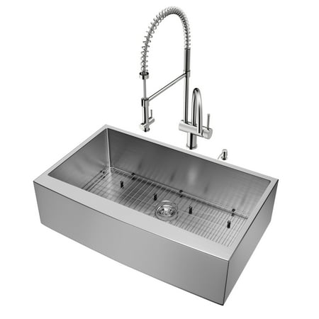 """Vigo VG15141 36"""" Single Basin Farmhouse Apron Front Kitchen Sink with Dresden Stainless Steel Finish Faucet and Soap Dispenser - Sink Accessories Included"""