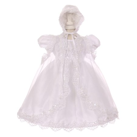 Baby Girls White Sequin Pearl Baptism Christening Cape Bonnet Dress Set