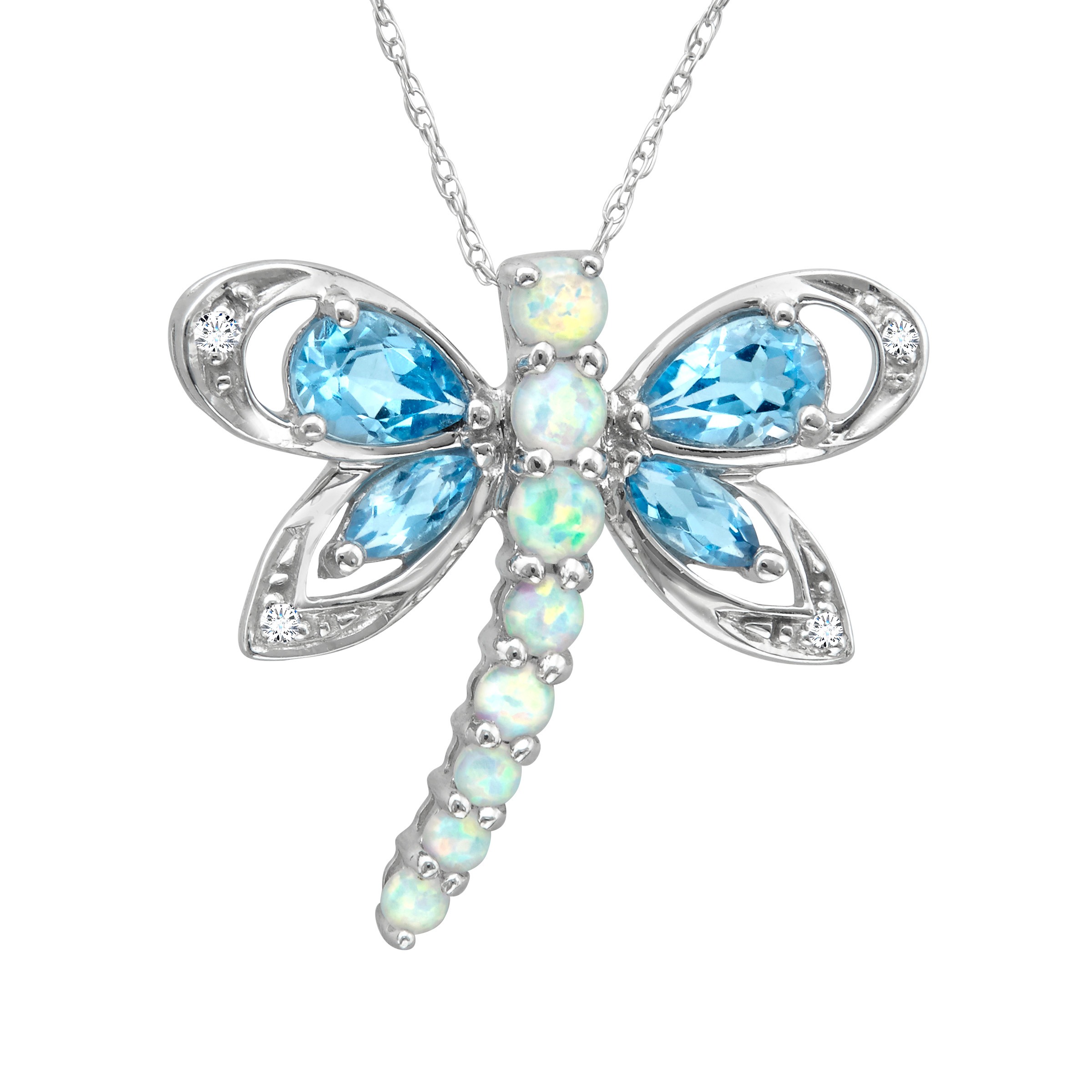 Richline 1 3/4 ct Natural Blue Topaz and Created Opal Dra...
