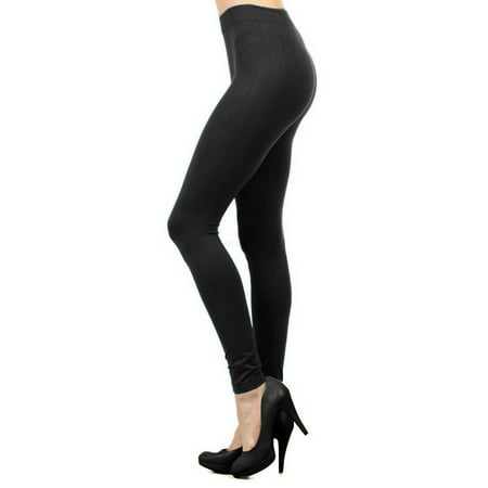 Women Seamless Basic Full Length Legging Stretch ankle Tights Pants - Black - Girls In White Tights