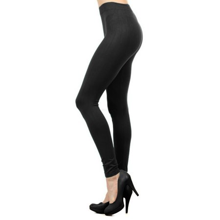 Women Seamless Basic Full Length Legging Stretch ankle Tights Pants - Black