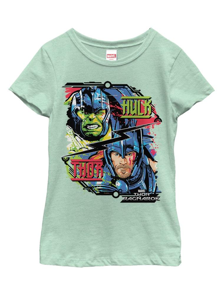 Marvel Girls' Thor: Ragnarok Hulk Cartoon T-Shirt