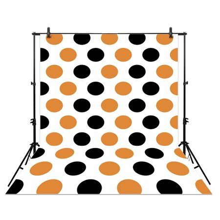 HelloDecor Polyster 5x7ft photography backdrop background Halloween Orange and black dots fall autumn newborn baby shower props photo studio booth](Black And Orange Halloween Background)