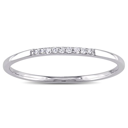 10k White Gold Thin Stackable Diamond Band Ring