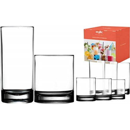Plastic Tumbler Cups Drinking Glasses - Acrylic Highball Tumblers Set of 8 (4x16oz & 4x14oz) Clear Reusable Kitchen Drinkware Dishwasher Safe Bpa Free Hard Rocks Glass Drink Wine Water Juice Cups (Harz Glas)