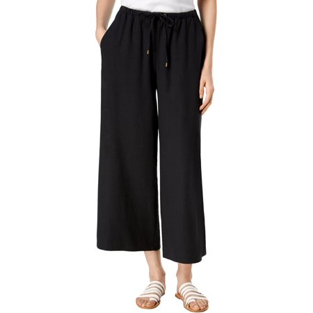 - Eileen Fisher Womens Petites Silk Noil Wide Leg Cropped Pants