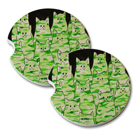 KuzmarK Sandstone Car Drink Coaster (set of 2) - Green Camo Camouflage Kitties Abstract Cat Art by Denise Every