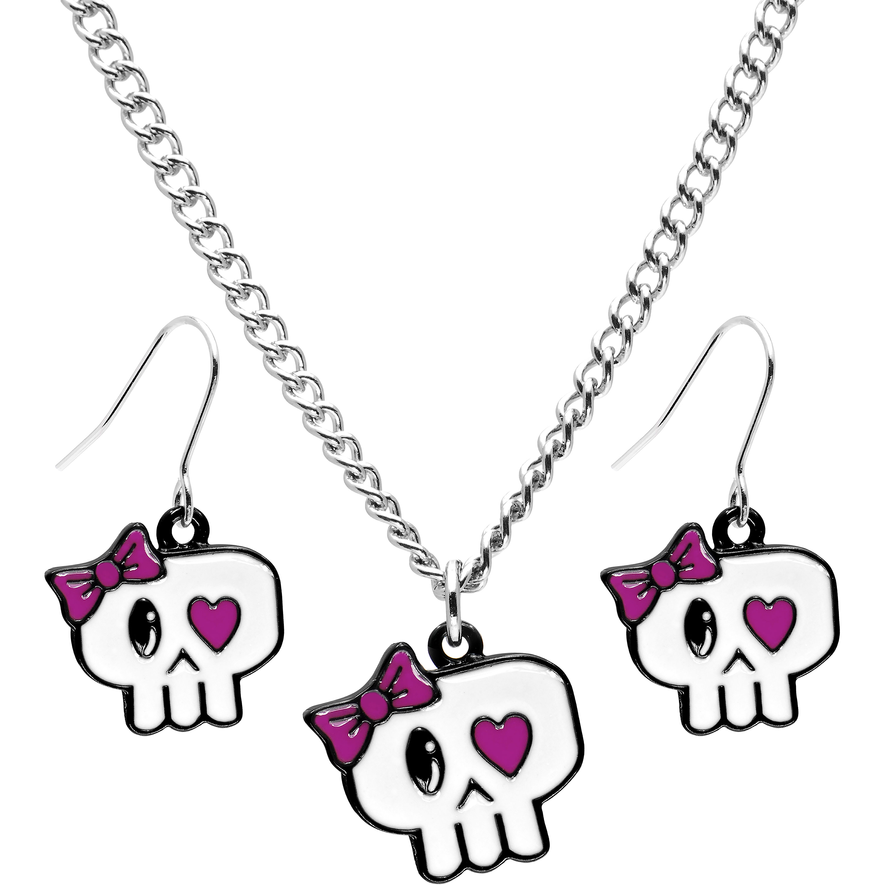 Heart Eyed Bow Skull Earring and Necklace Set