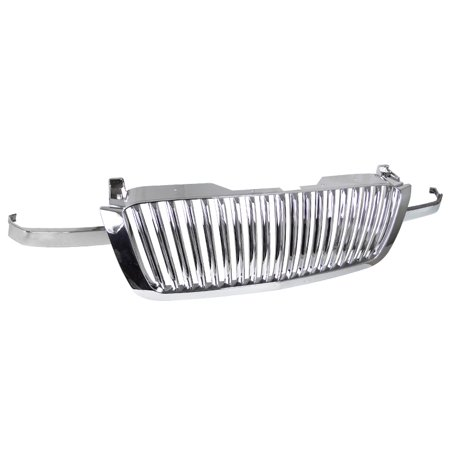 Chrome Front Grille Grill (Spec-D Tuning For 2003-2005 Chevy Chevrolet Silverado 3Pcs Abs Vertical Front Grill Hood Grille Chrome 2003 2004)