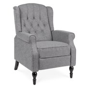 Best Choice Products Tufted Upholstered Wingback Push Back Recliner Armchair w/ Padded Seat, Nailhead Trim - Charcoal