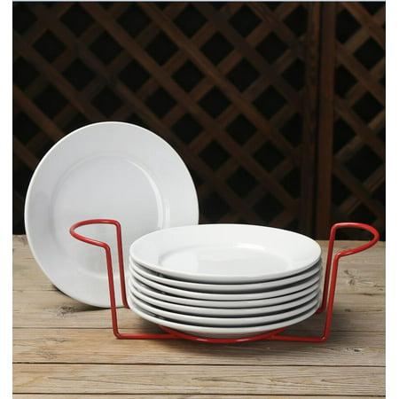 Hardware Metal Plate - Mainstays 9-Piece Metal Serveware Set with 8 Plates and Metal Rack