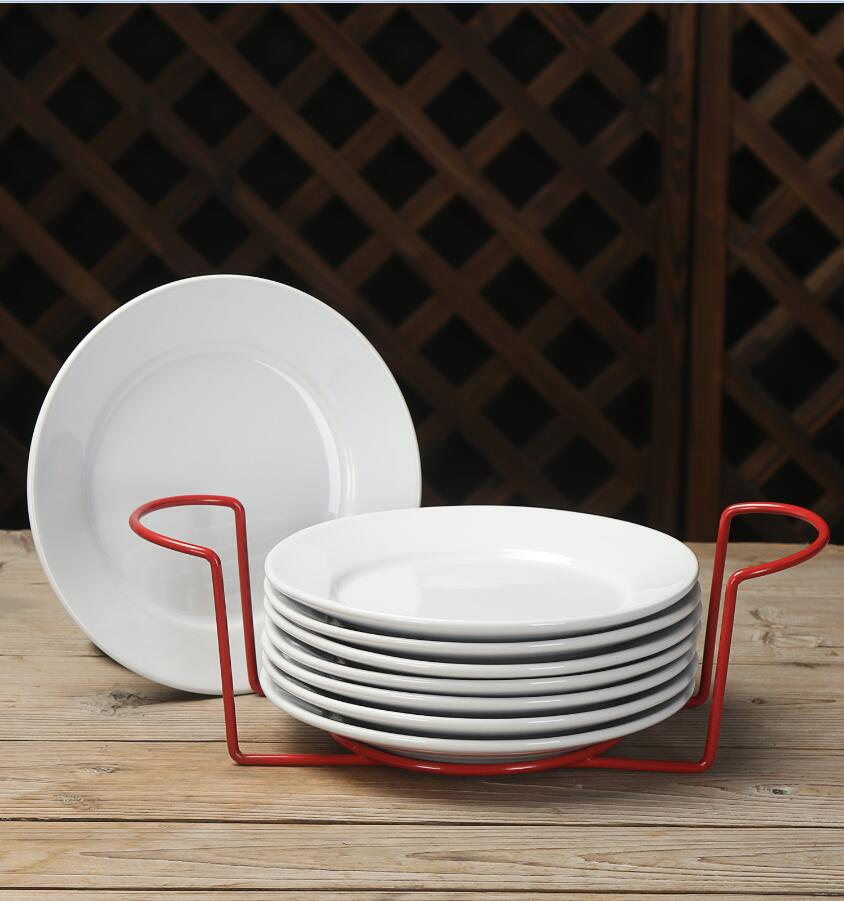 Mainstays 9-Piece Metal Serveware Set with 8 Plates and Metal Rack