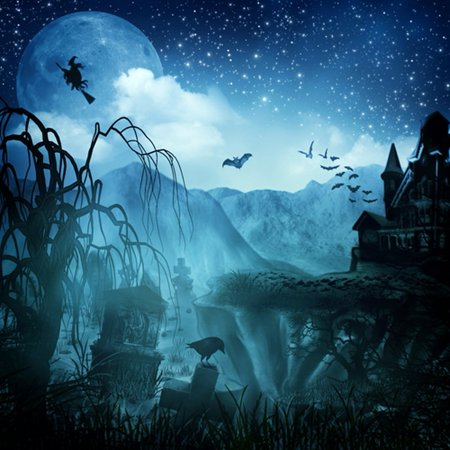 GreenDecor Polyster 5x7ft Spooky Halloween Scary Graves Flying Witch Bats Full Moon Hauted House Photography Backdrops Indoor Studio Backgrounds Photo Props