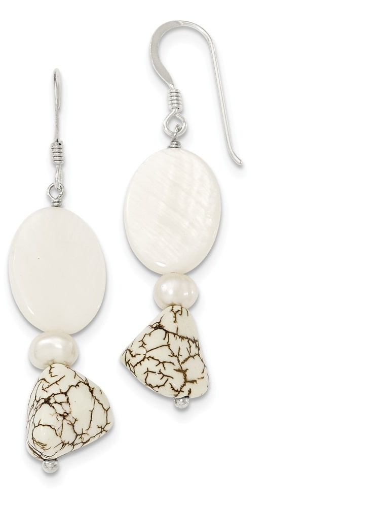 925 Sterling Silver Pearl MOP, Reconstituted Magnesite Dangle Earrings