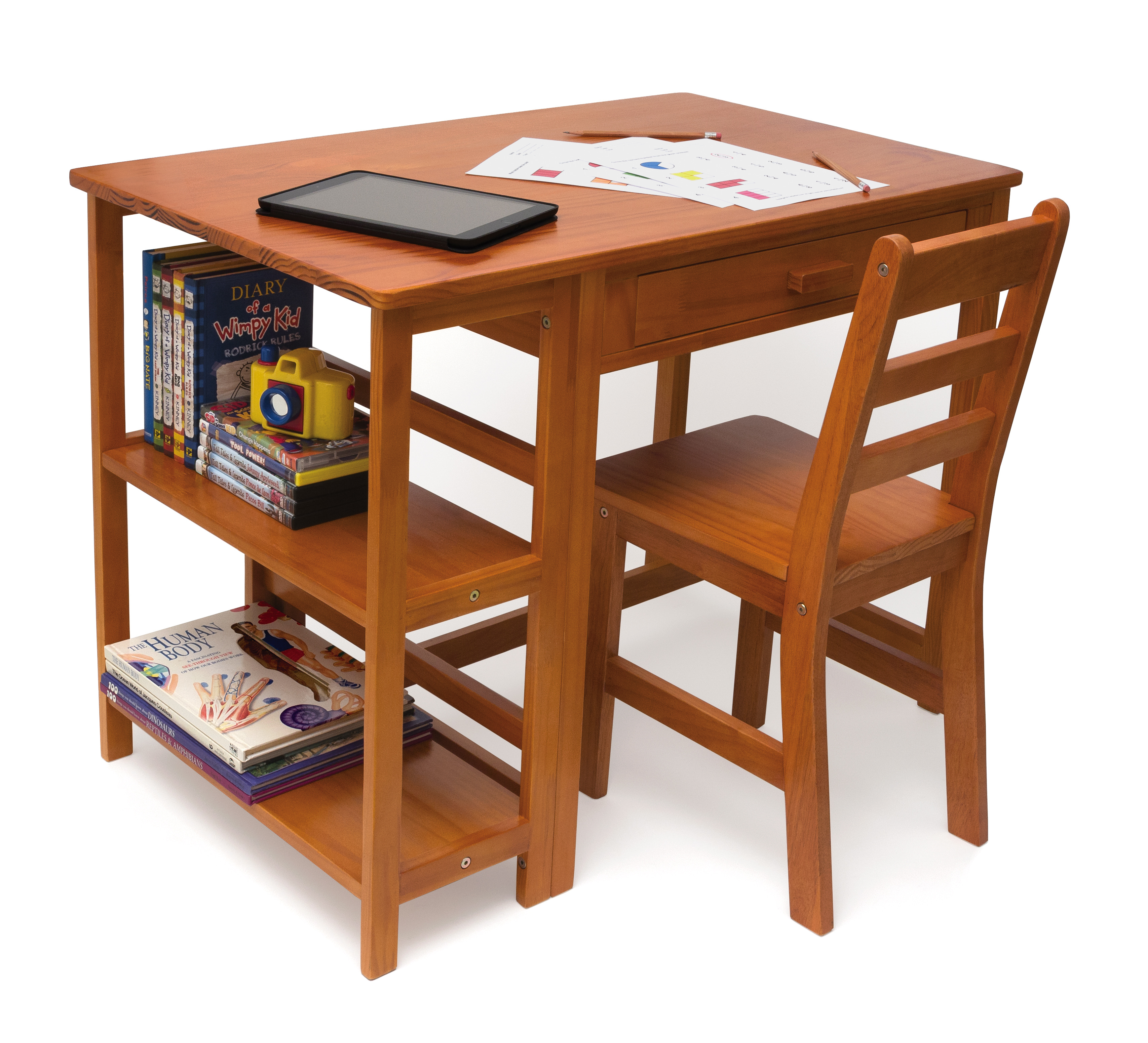 Lipper Kids Desk and Chair with Storage, Multiple Finishes