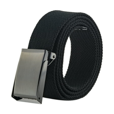 E-Living Store Fully Adjustable Men's Military Style Canvas Web Belt with Ratchet Buckle, Black, 56