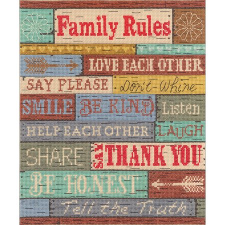 "Janlynn Counted Cross Stitch Kit 10""X12""-Family Rules (14 Count)"
