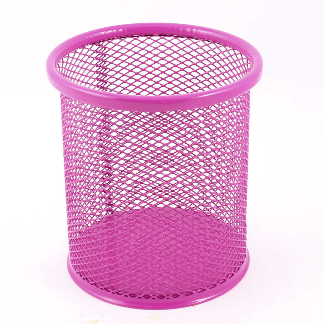 "Stationery 3.3"" Dia Cylinder Shape Pen Holder Container Desktop Decor Fuchsia"