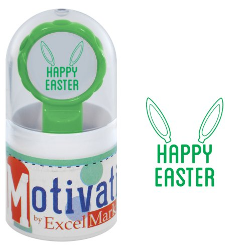 Motivations Pre-inked Teacher Stamp - Happy Easter (Bunny Ears) - Green