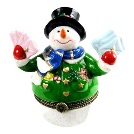 Snowman Hinged Box (Snowman Mailing Letters and Christmas Cards Hinged Trinket Box)
