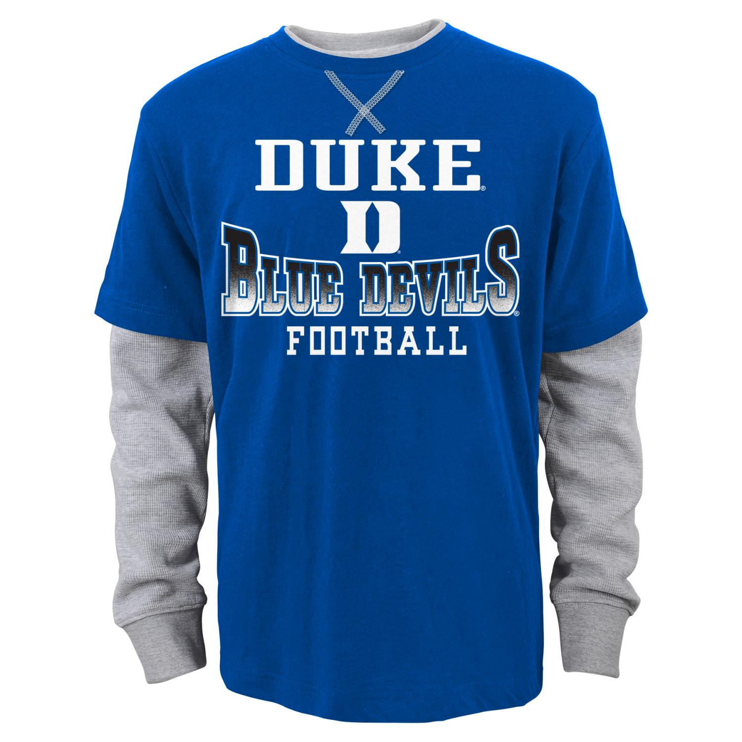 "Duke Blue Devils Youth NCAA ""Arched Fade"" L/S Faux Layer Thermal Shirt"
