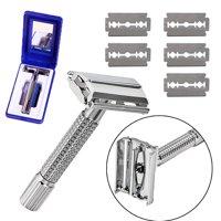 Men's Traditional Classic Double Edge Chrome Shaving Safety Razor + 5 Blades