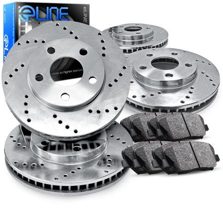 Vip Full Kit (1991 1992 Lincoln Mark VII Full Kit eLine Drilled Brake Rotors & Ceramic Pads )