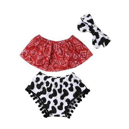 Baby Girls Cowgirl Red Bandana Top with Pom Pom Trim Bloomers and Headband 3pcs Outfit (90/12-18 Months) - Cow Girl Outfits