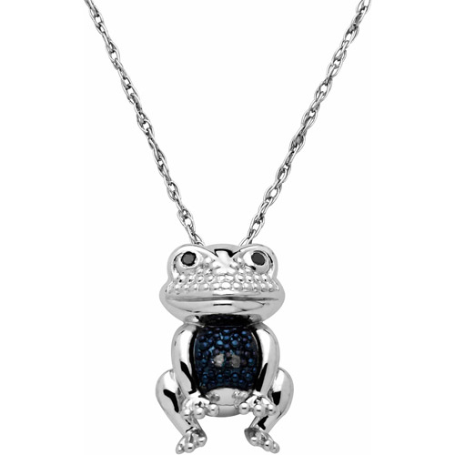 Petite Expressions Blue Diamond Accent Frog Pendant in Sterling Silver, 18""