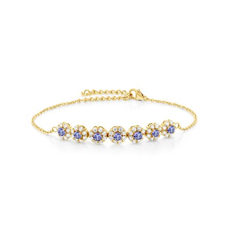 1.26 Ct Round Blue Tanzanite 18K Yellow Gold Plated Silver 7 Inch Tennis Bracelet with 2 Inch Extender
