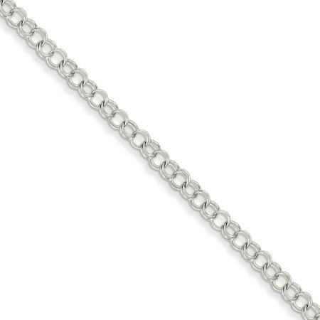 14k White Gold Double Link Charm Bracelet 14k Designer Charm Bracelet
