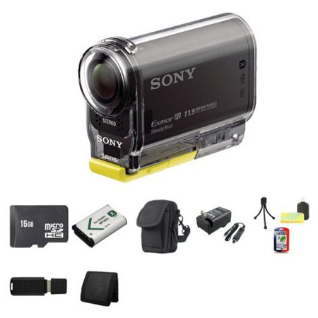 Sony High Definition POV Action Video Camera HDR-AS30V + 16GB MicroSDHC Class 10 Memory Card + NP-BX1 Lion Battery + Carrying Case + External Rapid Charger