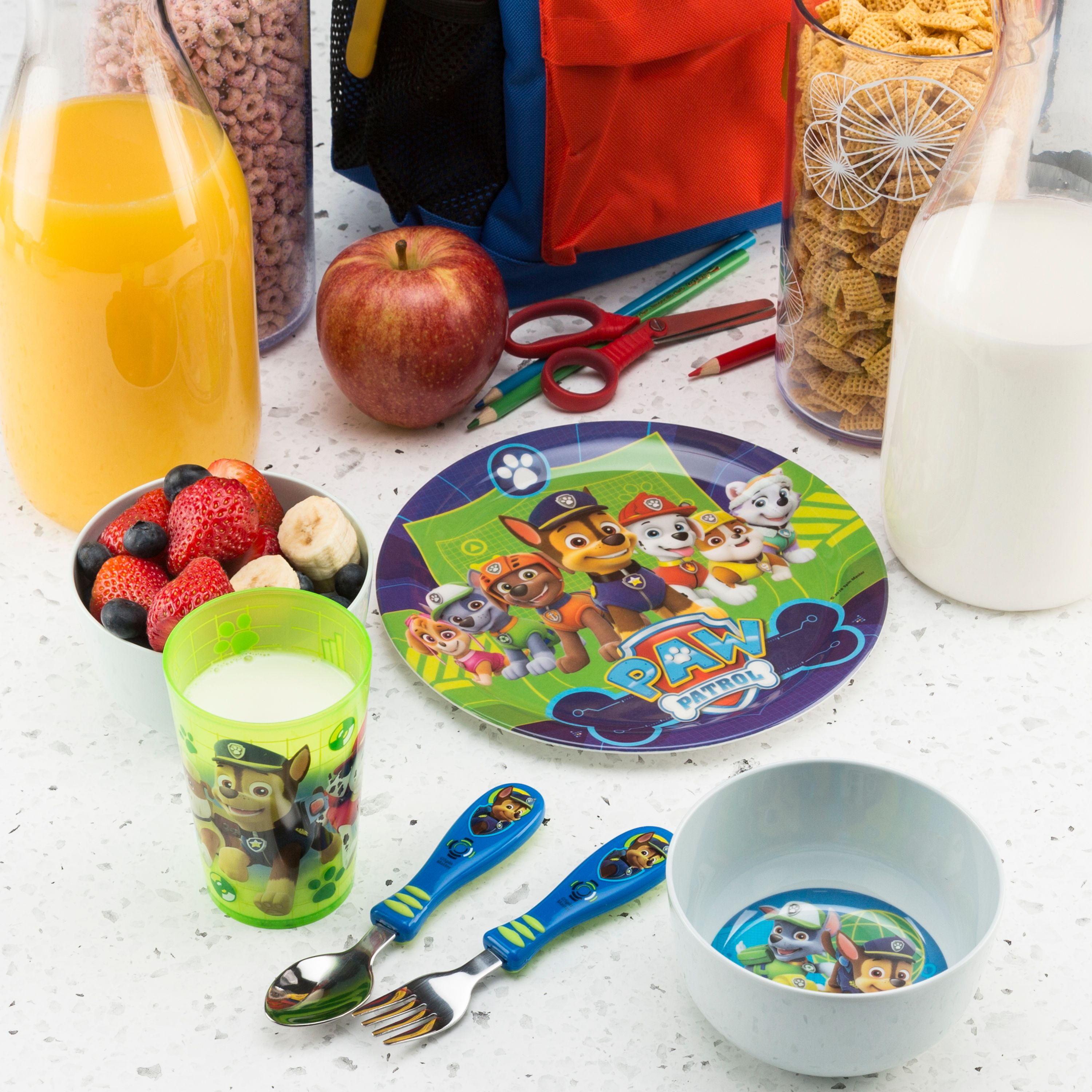Zak Designs Paw Patrol Kids Cereal Bowl Tumbler and Spoon Set Skye